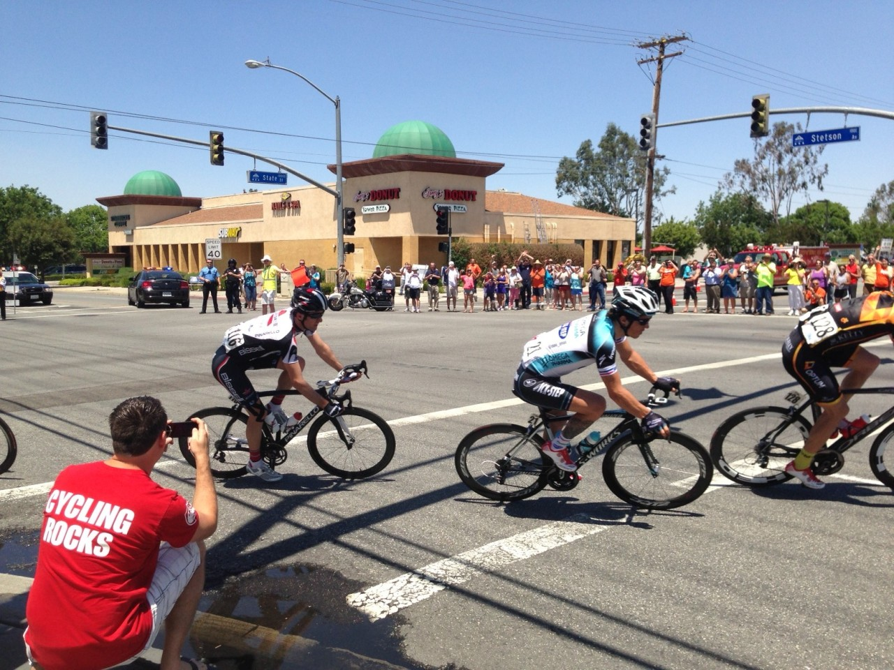"Standing on the Corner ""In the Way"" of the AMGEN Tour of California Bicycle Race"