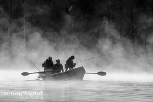 B&W Fishing at Day Break Quake Lake